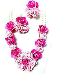 Floret Jewellery Fancy Handmade Pink Flower Jewellery Set With Earrings For Women & Girls (Mehandi/Haldi/Wedding)