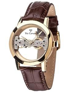 Yves Camani Herrenuhr Handaufzug Edelstahlgehäuse Lederarmband Mineralglas VERDON  mehrfarbig/braun YC1049-A