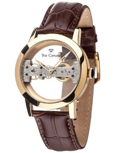 Yves Camani YC1049-A - Reloj para hombres, correa de cuero color marrón