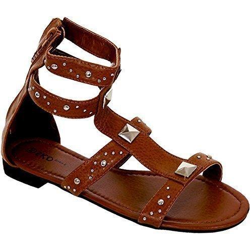FANTASIA BOUTIQUE Femmes Bronze Gladiateur Chaussures Plates femmes Petit Talon Clouté Fermeture Éclair Dos Sandales Brun Clair