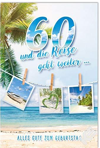 """Karte zum 60. Geburtstag\""""Reise\"""", B6 + Umschlag"""