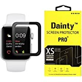Dainty Tempered Glass Screen Guard For Apple Watch Series 3 (42mm Inch, Black Colour, Full Screen Edge To Edge Glass)