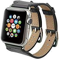 Apple Watch cinturino Series 2 Series,Sumin® 38mm Double Buckle Cuff banda in pelle Apple Osservare, iWatch braccialetto in pelle orologio da polso bracciale genuina con adattatore per di Apple iWatch