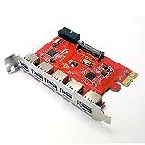 Sienoc 5 Port inkl. Header USB 3.0 PCI Express (PCIe) Controller | 5 x extern (Ports) / 1 x intern (Controller/Header) | 15 pin SATA-Stromanschluss | Schnittstellenkarte USB 3.0 Super Speed | USB Hub intern