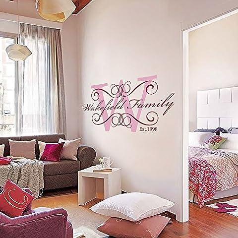 Monogramma, con lettera iniziale del nome in vinile Wall Art con nome personalizzato 55,88 (22 cm altezza, decalcomania da parete per cameretta dei bambini
