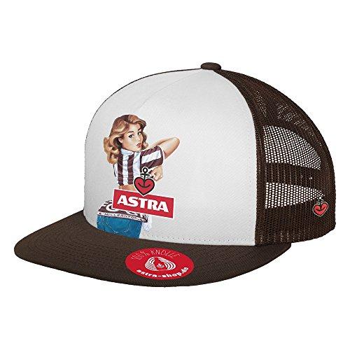 ASTRA Trucker Mesh Cap, Mütze in St. Pauli Vereinsfarben, Kappe für Damen & Herren, Bier als Kopfbedeckung, Schirmmütze mit Mesh-Einsatz