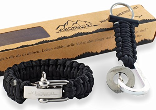 Visionquest Survival Abenteuer Set - Paracord Armband mit einstellbarem Edelstahlverschluss - Schlüsselanhänger mit Feuerstein - Flechtanleitung im Ebook