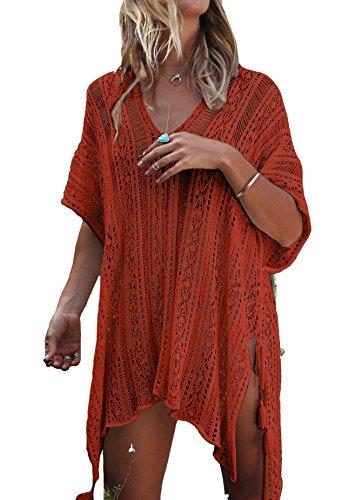 LazLake Damen Gestrickte Strandkleid Sommer Strandponcho Strandurlaub Badeanzug Bikini Cover-Ups LXF13 Caramel