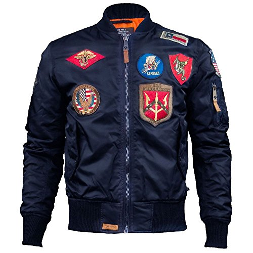Top Gun MA 1 Nylon Bomber Jacket with Patches Navy (Gun Jacke Top Bomber)