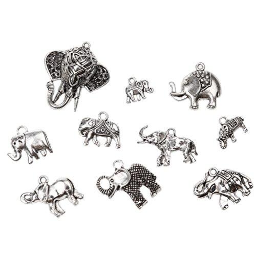 Desconocido 10pcs Joyería de Colgantes Resultados del Arte Elefantes de Vendimia DIY