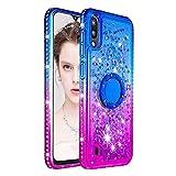 Funda para Samsung Galaxy A10, Silicona Purpurina Carcasa con Brillante Diamantes Anillo Transparente Suave TPU Gel Anti-Golpes Anti-arañazos Teléfono Protectora Bumper - Azul Morado
