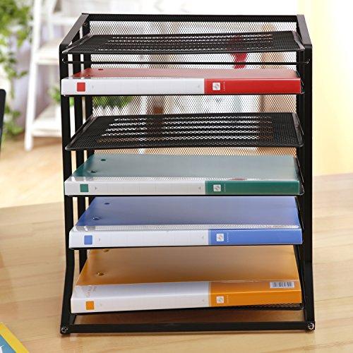 6Etagen Metall schwarz Drahtgeflecht Vertikal Tabletts Dokument Datei Halter/Office Desktop Sortiermaschine Rack–MyGift®