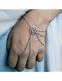 Jinfeng Argent Wicca Esclave Bracelet, Wicca Esclave Bracelet, Pentagramme  Pentacle Bracelet, Bracelet, a87e454a2f56