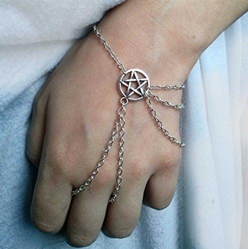 Silber Wicca Slave Armband, Wicca Slave Armband, Pentagramm Armband, Pentagramm-Armband, Wicca Jewelry (Slave-armbänder)