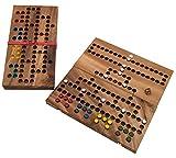 ROMBOL Barrikade, klappbare Ausführung, Reisespiel, Familiespiel, Holzspiel, Würfelspiel, Brettspiel, Gesellschaftsspiel aus Holz