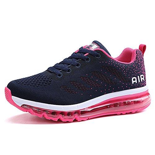 Unisex Herren Damen Sneakers Sportschuhe Bequeme Laufschuhe Schnürer Air Running Shoes 35-45(833Pink36)