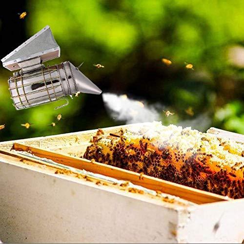 AiCheaX Silver Bee Keeping Smoker Ahumador de Colmena de Abeja de Acero Inoxidable Pequeño galvanizado...