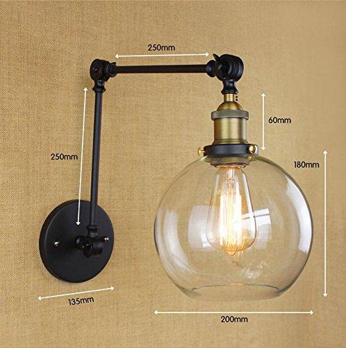 FAYM - lampe de mur Abat-jour en verre simple moderne Archaize lampe murale en fer forgé du bras télescopique peut