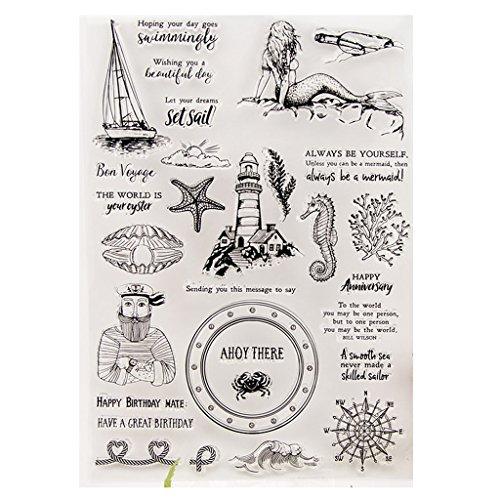 ECMQS Bon Voyage DIY Transparente Briefmarke, Silikon Stempel Set, Clear Stamps, Schneiden Schablonen, Bastelei Scrapbooking-Werkzeug