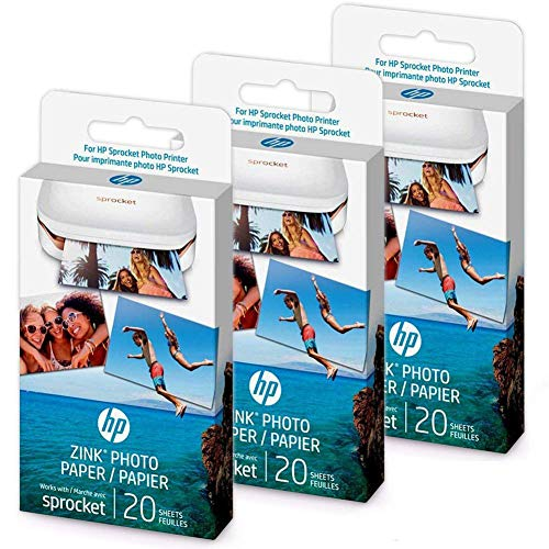 HP Original Zink Sticky Paper for HP Sprocket - 60 Sheets (Three Packs)