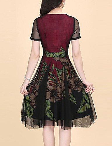 DESY Damen Hülle Kleid-Ausgehen Übergröße Street Schick Druck Rundhalsausschnitt Knielang Kurzarm Polyester Sommer Mittlere Hüfthöhe fuchsia
