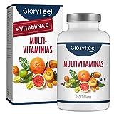 GloryFeel® Multivitaminas y Minerales - 450 Comprimidos Multivitamínicos Veganos - (Suministro por más de 1 año) Vitaminas y Minerales Activos Esenciales para Hombres y Mujeres