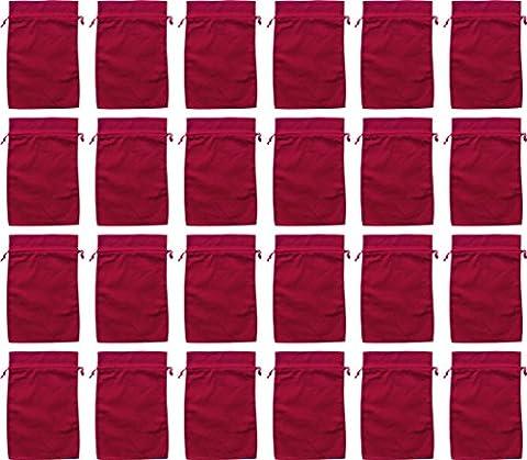 24 Baumwoll-Säckchen, Baumwollbeutel rot, 12 x 20