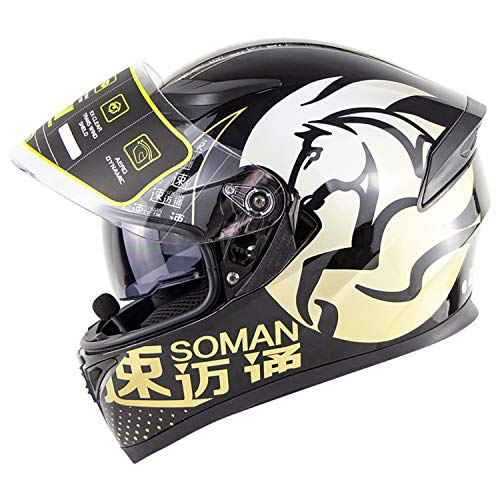 Initial Motorrad Doppelspiegel Bluetooth Helm - Modular Flip/DOT Standard HD Bluetooth Verbindung und Airflow Window Design, um trocken und atmungsaktiv zu halten,Gold,L