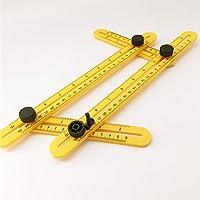 Herramienta de copia en forma irregular, regla de medición en múltiples ángulos, plantilla de ángulo, pernos de ABS integrados y herramienta de plantilla, color amarillo free size