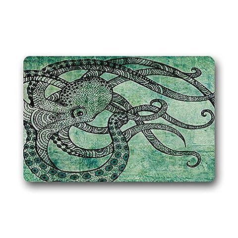 Violetpos Fußmatte 50 x 80 cm Dunkelgrüne Krake Fussmatte Home Innen & Außen Schmutzmatte Mat