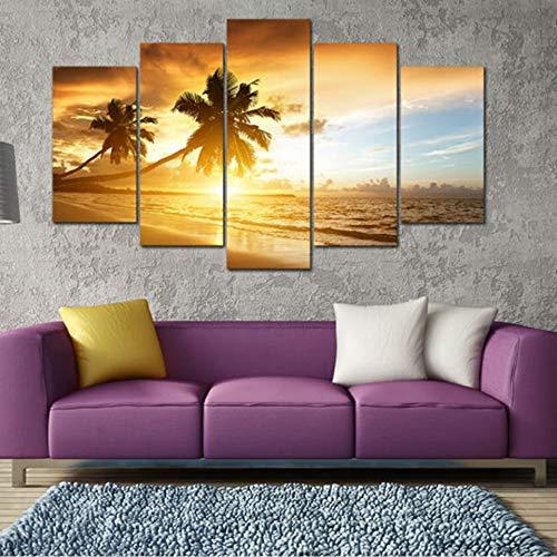 unst Bilder Moderne Wohnzimmer Dekor 5 Stücke Tropical Marine Sand Beach HD Gedruckt Sonnenaufgang Landschaft Poster ()