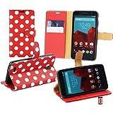 Emartbuy® Vodafone Smart Prime 6 Brieftaschen Wallet Etui Hülle Case Cover aus PU Leder Polka Dots Rot Weiß mit Kreditkartenfächern