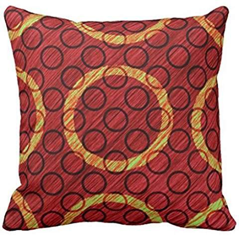 Big Small Circle Texture Wine Red Lime Green Throw pillow case 2222