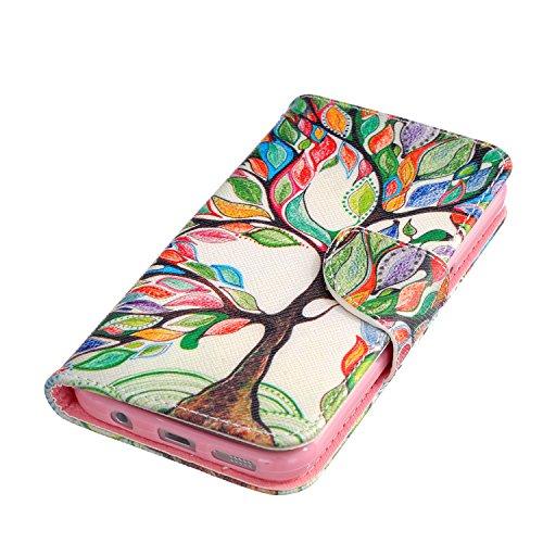 Coque pour Samsung Galaxy S6 Edge Plus, Etui pour Samsung Galaxy S6 Edge Plus, ISAKEN Peinture Style PU Cuir Flip Magnétique Portefeuille Etui Housse de Protection Coque Étui Case Cover avec Stand Sup Arbre Feuille