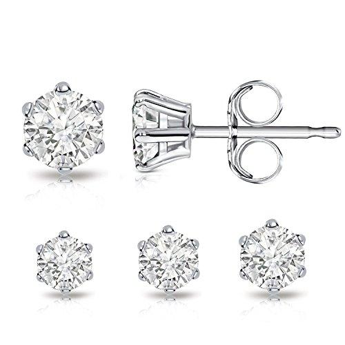 Billie bijoux orecchini donna in argento sterling 925 con rotondo zirconia cubica zircone diamante strass, delle donne gioielli (4mm,5mm,6mm)