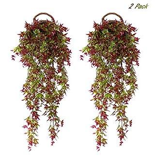 FUJIE 2 Piezas Artificial Hiedra Colgante Artificial Plantas de Vid Falsos Plantas Enredaderas para Interior Exterior Accesorios