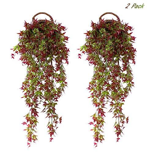 fujie 2 pcs edera artificiale piante rampicanti finte di edera plastica verde finto per appendere a parete per festa e la decorazione della parete di giardino