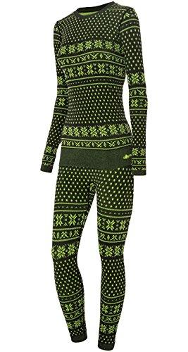viking Thermounterwäsche Damen Set Hose und Longsleeve Funktionsunterwäsche Brita, 72 schwarz/grün, L