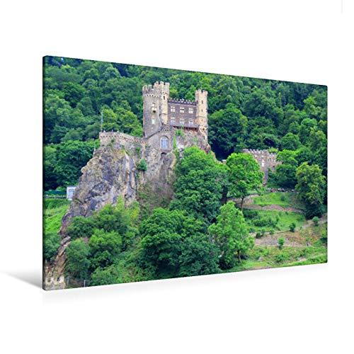 Premium Textil-Leinwand 120 cm x 80 cm quer Burg Rheinstein am Mittelrhein -