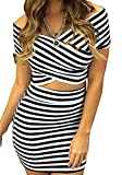 Femmes Sexy Encolure Striped Crop Tops Ensembles Jupe Blouse Mini-robe ...