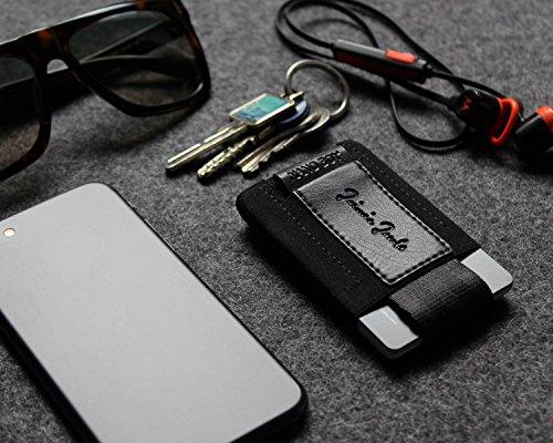 """Jaimie Jacobs Mini Wallet, Mini Geldbörse aus Textil, kleiner Geldbeutel, Mini-Portemonnaie für Herren """"Nano Boy Pocket"""" (Schwarz) Schwarz"""