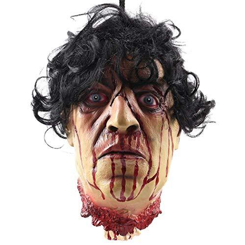 Moneil Halloween-Requisiten, beängstigend hängend, abgeschnittene Kopf-Dekorationen, Lebensgröße, blutige abgeschnittene Leichenkopf, Geister, animierter Zombie-Kopf für Spukhäuser, Party-Dekoration, lustiges festliches Zubehör Horror Head ()
