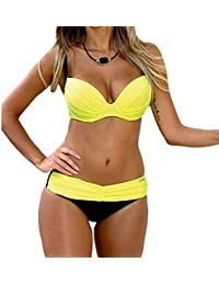 SAMGU Femmes Push Up 2 pièces Bikini Set Maillots de bain Bandeau Bathing Suits Swimwear