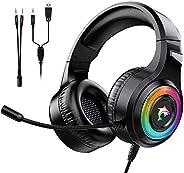 Cuffie Gaming per PS4 Cuffie da Gaming con Microfono e Bass Stereo Cuffie da Gioco con 3.5mm Jack LED e Contro