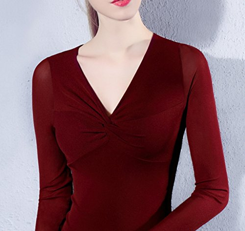 Smile YKK Chemise Femme Tulle Pull Col V T-shirt Blouse Haut Top Manches Longues Elégant Bordeaux