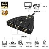 HDMI Switch, NIERBO Switcher HDMI 4K Soportes Full HD 1080p 3D, 3-Puertos Adaptador Switcher HDMI Splitter para TV, Blu-Ray, cable box, PS3/PS4