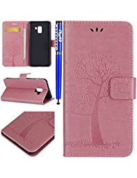 EUWLY Leather Case for [Samsung Galaxy A8 Plus],PU Leather Fold Wallet Pouch Case Wallet Flip Cover Bookstyle Magnetic Closure with Card Slots & Stand Function Anti-Scratch Anti-Shock Slim Protective Case Cover for Samsung Galaxy A8 Plus + 1 x Blue Stylus Pen - Pink