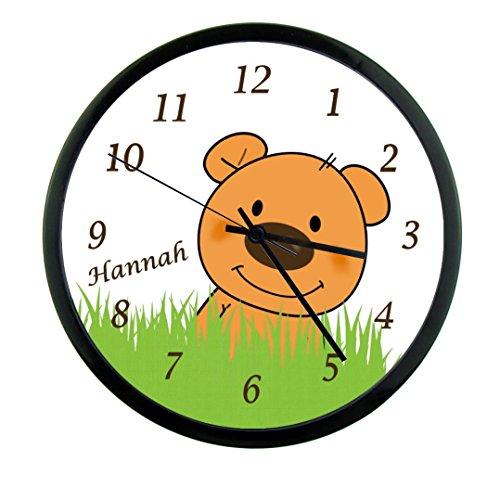 Wanduhr mit Wunsch - Namen für Kinderzimmer ; einzigartige Kinderuhr ; Rahmen schwarz ; Kinder Wanduhr ohne ticken mit oder ohne Namen auf Wunsch personalisiert ; Uhr - Motiv Teddy Bär