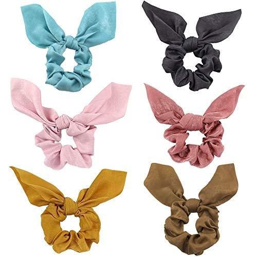 Haargummis mit Schleife - 6 Stück Elegante Süße Bowknot Scrunchies Haargummi für Mädchen zum Halten von Pferdeschwanz und Haarstyling