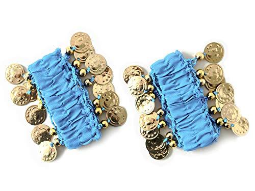 MBW Belly Dance Handkette Armband Handschmuck Armbänder mit goldfarbenen Münzen (Paar) in hellblau